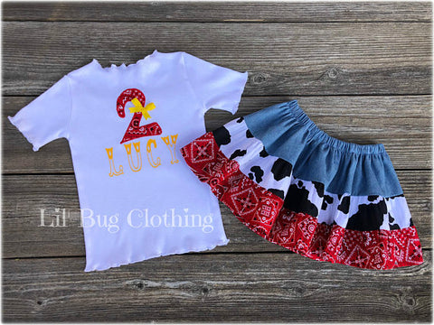 Cowgirl Personalized Tee & Pant Outfit