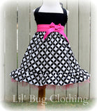 Black White Diamond Pink Sash Bow Jumper Dress
