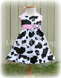 Western Cow Girl Baby Pink Dot Jumper Dress w/ Tulle