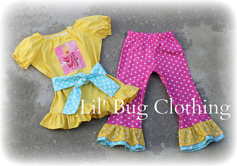 Sleeping Beauty Pant Peasant Top Teal Pink Yellow Polka Dots