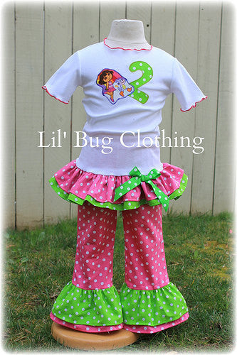 Birthday Girl Dora The Explorer Personalized Tee & Pant Outfit