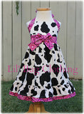 Western Wear Bandana Cow Hot PInk Jumper Dress