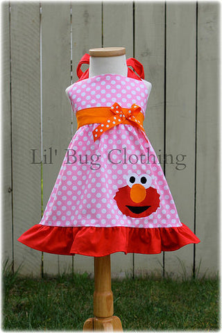 Elmo Bubble Gum Pink Polka Dot Jumper Dress