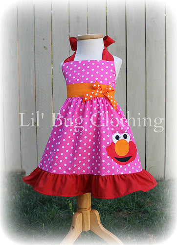 Hot Pink & White Polka Dot Elmo Jumper Dress Halter Style
