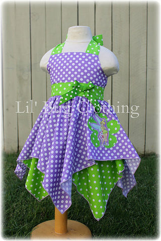 Tinkerbell Lime & Lavender Handkerchief Birthday Dress Costume