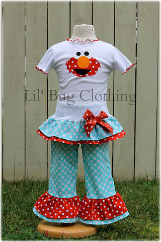 Elmo Red & Teal Polka Dot Elmo Pant & Tee