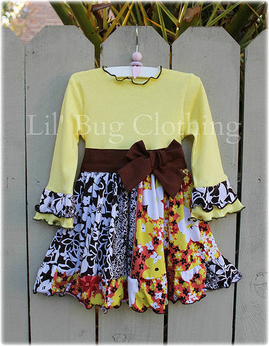 Cocoa & Yellow Fall Festival Floral Dress