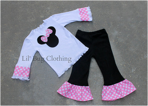 Bubble Gum Pink Dots  Minnie Tee & Pant Outfit