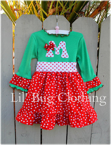 Holiday Christmas Red White Green  Initial Polka Dot Dress