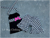 Black & White Diamond Hot Pink Bow Short & Halter Top
