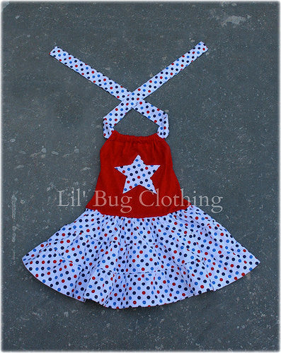 4th of July Red White Blue Polka Dot Star Tiered Dress