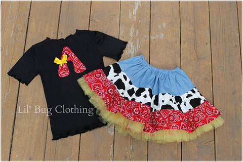 Western Wear Red Bandana Tiered Cow Skirt & Tee
