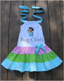 Dora The Explorer Lime Teal Polka Dot  Dress