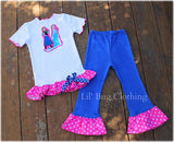 Frozen Hot Pink & Blue Comfy Knit Pant & Tee Outfit