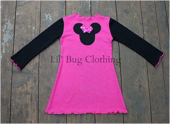 Pink Knit Minnie Mouse Dots Dress
