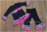 Hot Pink & Zebra Tulle Knit Tee & Pant Outfit