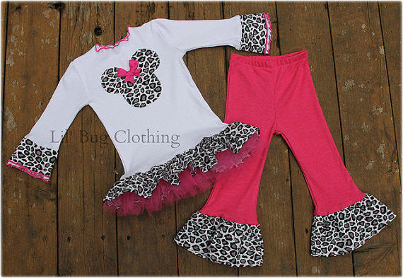 Leopard Pink Minnie Mouse Tulle Tee & Pant
