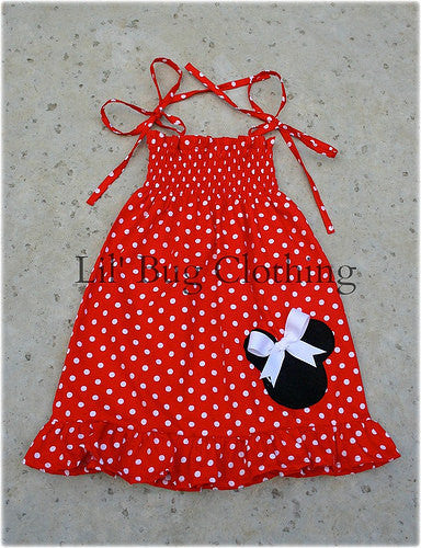 Red White Polka Dot Minnie Mouse Smocked Dress