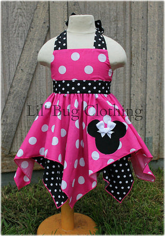 Hot Pink Black White Dot Minnie Mouse Handkerchief Dress