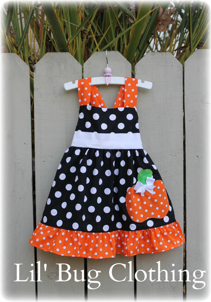 Halloween Pumpkin Black White Polka Dot Jumper Dress