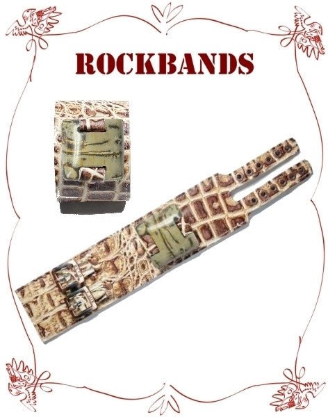 Large Brown Croco Style Rock Band with Painting Jasper Stone