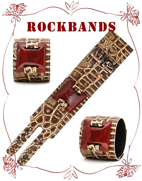 Large Brown Croco Style Rock Band with Plum Jasper Stone