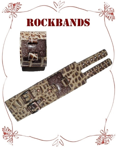 Small Brown Croco Style Rock Band with Tiger Jasper Stone