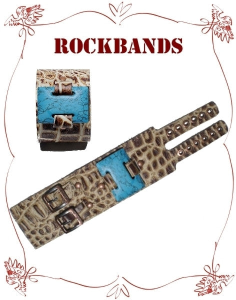 Small Brown Croco Style Rock Band with Synthetic Turquoise Stone