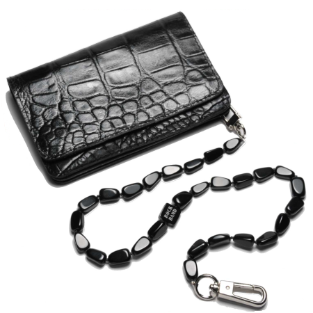 Black Croco Style Wallet with a Black Obsidian Chain