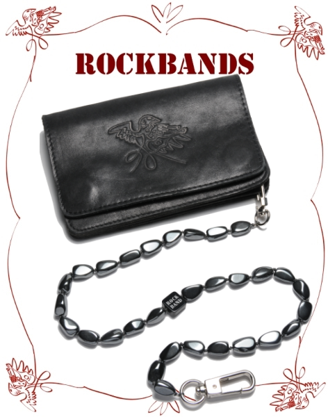 Vintage Black Leather Wallet with Hematite Chain