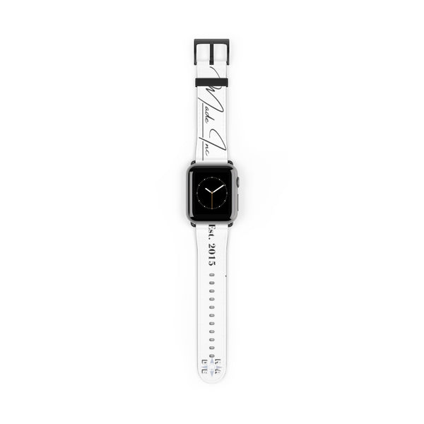 Black Matte, white Made Inc signature Apple Watch band  displaying the Made Inc logo and est 2015