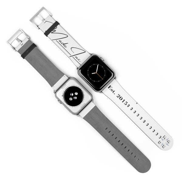 Silver Matte, white Made Inc signature Apple Watch band with view of both front and back