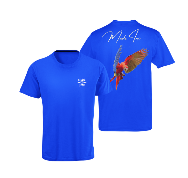 Blue suede scarlet macaw tee with color bird from the parrot family with Made Inc Signature on top and white Made Inc logo on front right breast area