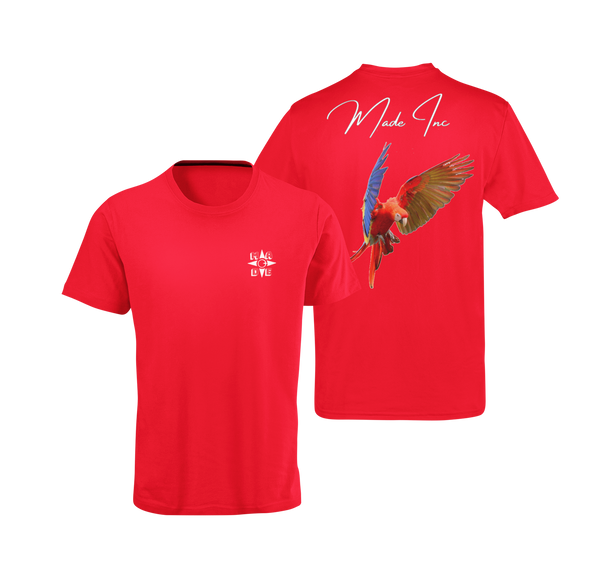 Red suede scarlet macaw tee with color bird from the parrot family with Made Inc Signature on top and white Made Inc logo on front right breast area
