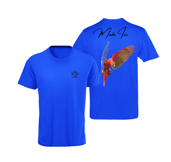 Blue suede scarlet macaw tee with color bird from the parrot family with Made Inc Signature on top and black Made Inc logo on front right breast area