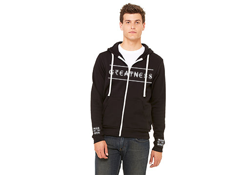 Man wearing Greatness Sponge Fleece Zip-up Hoody and a white t-shirt by Made Inc