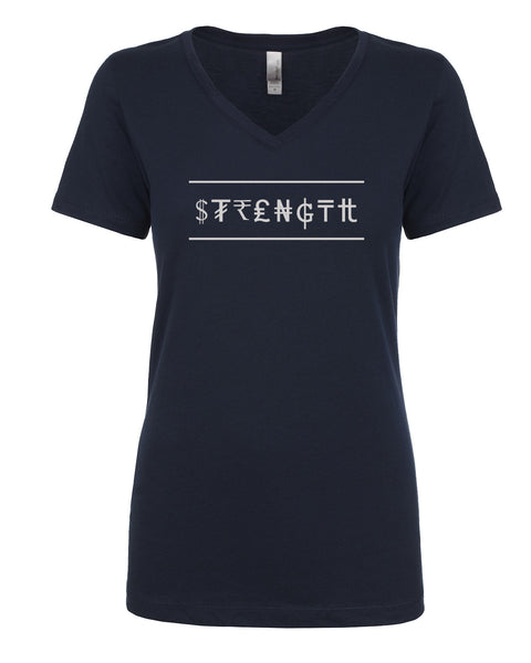 Ladies V-Neck Tee - Strength