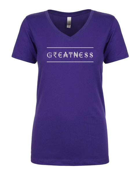 Ladies V-Neck Tee - Greatness