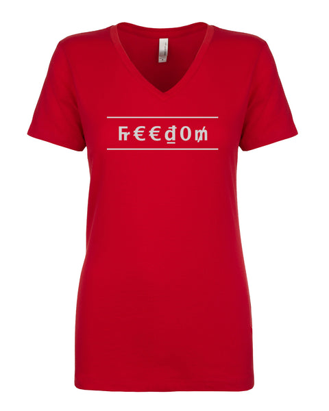 Ladies V-Neck Tee - Freedom