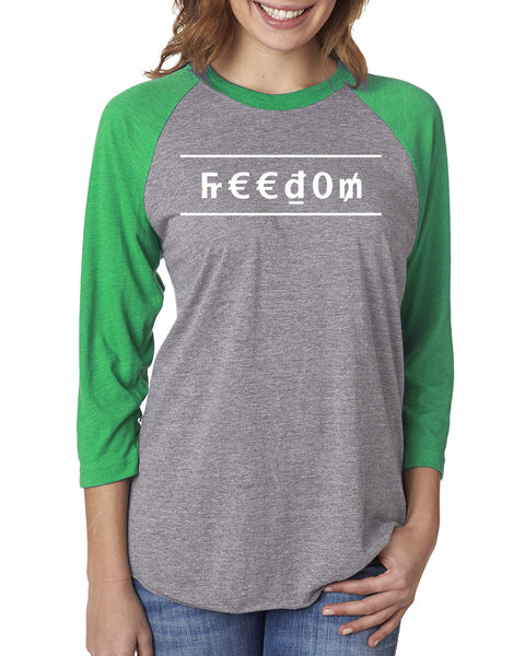 MADE INC - Sport Triblend 3/4 Sleeve Raglan- Freedom