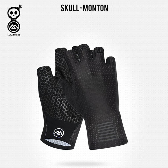 SKULL MONTON Half Finger Gloves Weekend Black