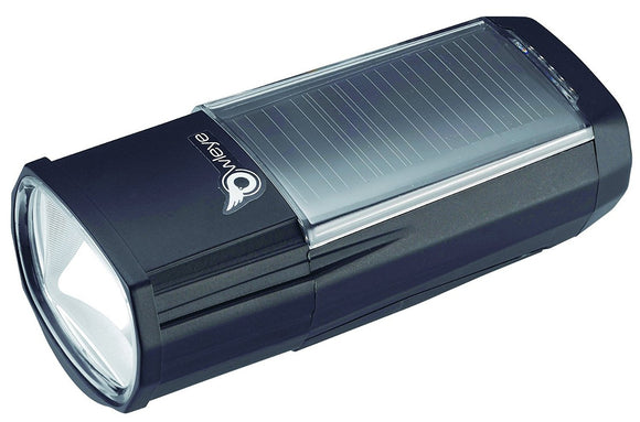 Owleye Brilliant 200 Headlight (Solar Charging)- Black - Trevs Cycle Shop