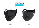 Monton Sports mask with KN95 filter and valve (Black or Grey)