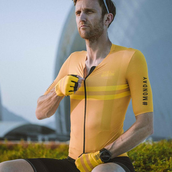 Skull Monton Cycling Jersey MONDAY Yellow
