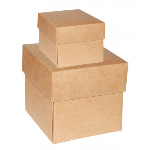 Brown Kraft Gift Boxes Square - 2 Pieces