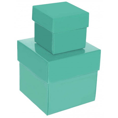 Aqua Green Square Gloss Laminated Gift Boxes - 2 Pieces