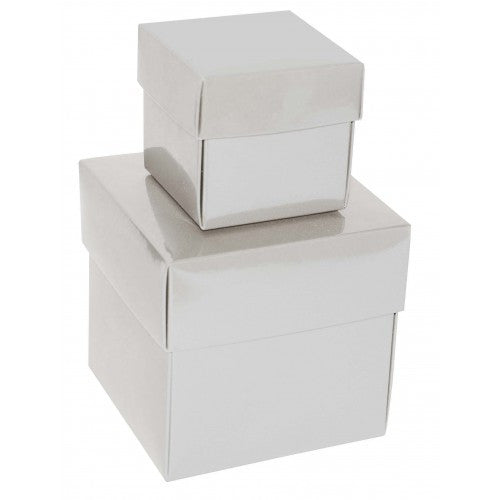 White Square Gloss Laminated Gift Boxes - 2 Pieces