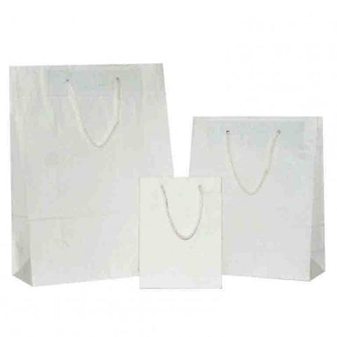 Natural White on White Carrier Bags with Rope Handle