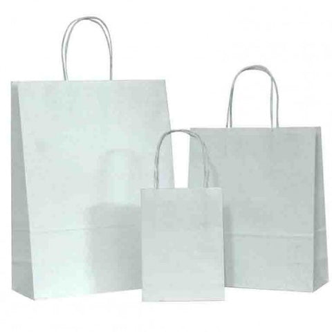 Natural White on White Carrier Bags with Twisted Handle