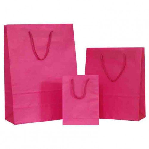 Hot Pink Solid on White Carrier Bags with Rope Handle